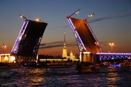 St.Petersburg itinerary. White nights, the Palace bridge and Peter and Paul's fortress