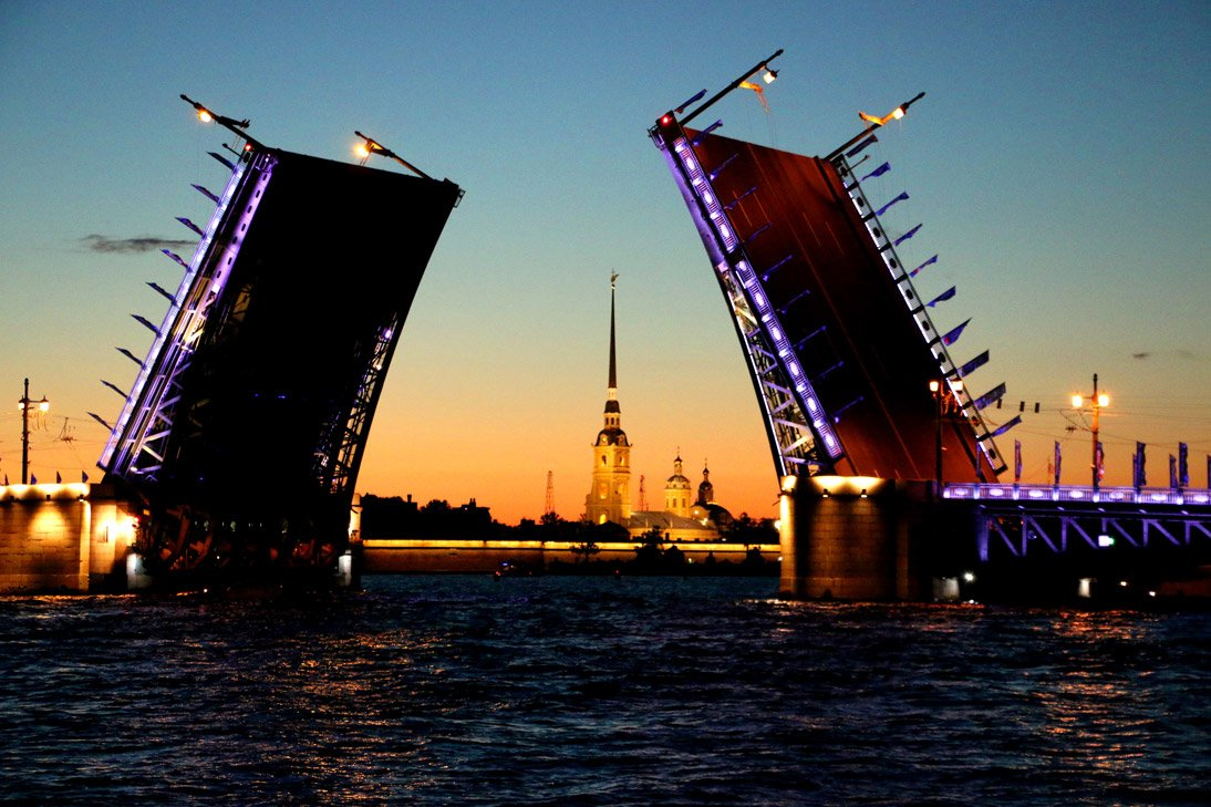 Opening of Palace bridge for navigation at 1.30am. White Nights in St.Petersburg.