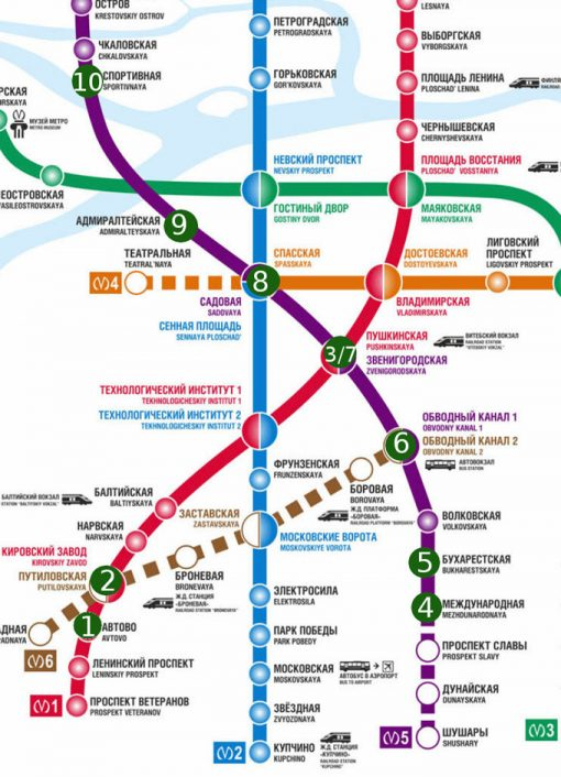 Map of Top 10 most beautiful metro stations in St.Petersburg