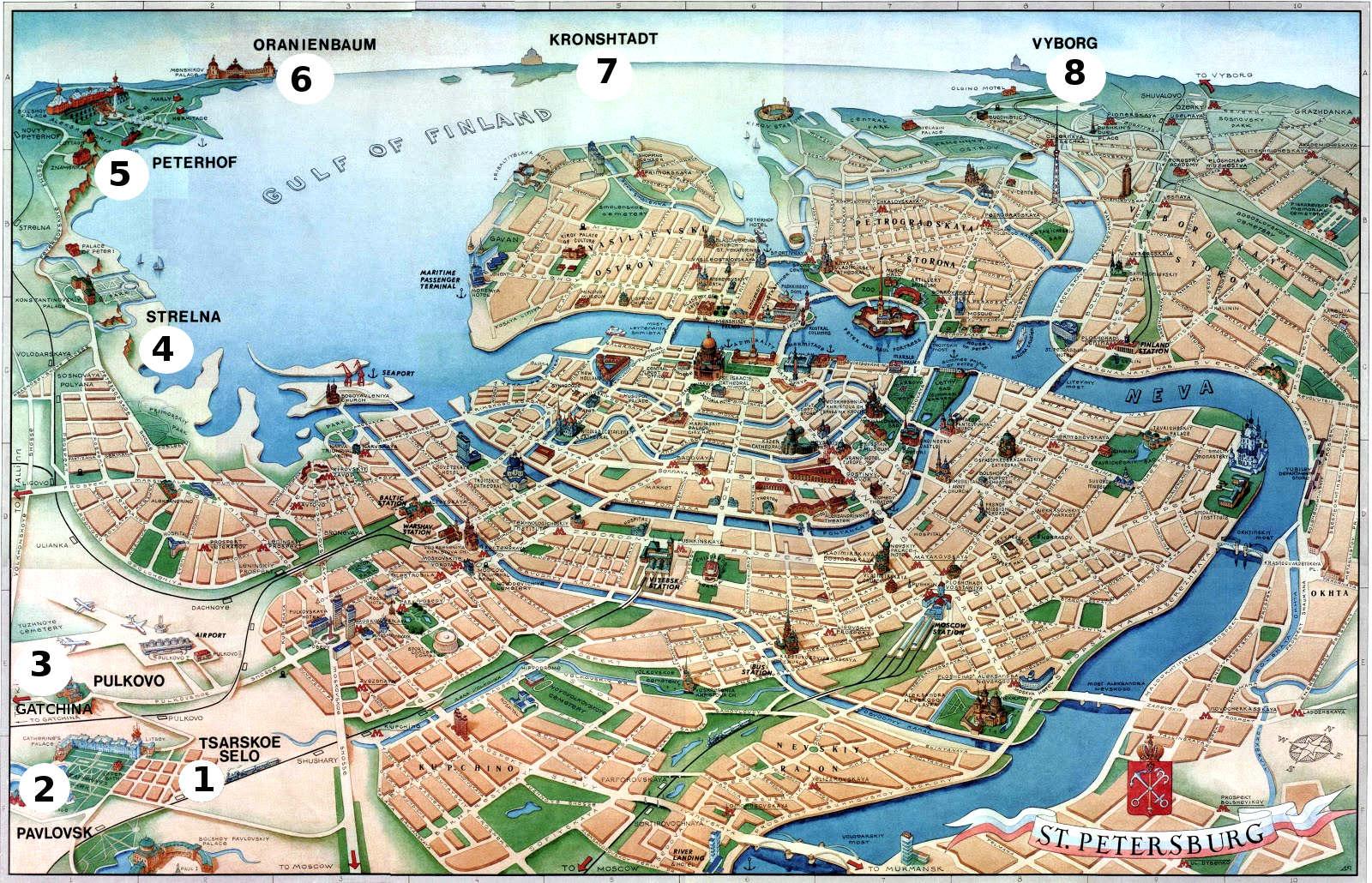 Map of St.Petersburg royal suburbs; 1 - Tsarskoye Selo (Pushkin); 2 - Pavlovsk; 3 - Gatchina; 4 - Strelna; 5 - Peterhof; 6 - Oranienbaum; 7 - Kronstadt; 8 - Vyborg.