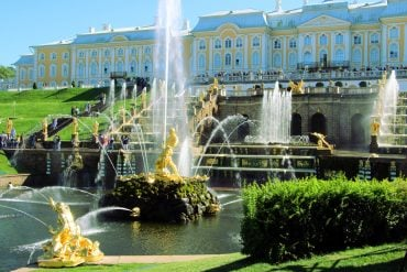 Stunning Grand Cascade with the palaces on the background, Peterhof. St.Petersburg palaces and parks
