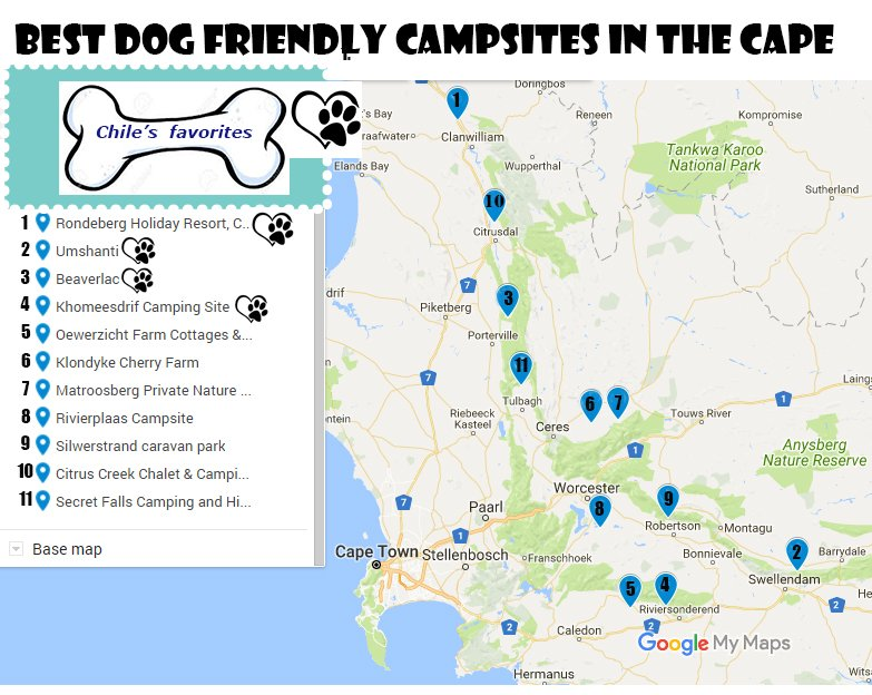 Map of dog-friendly campsites in Western Cape