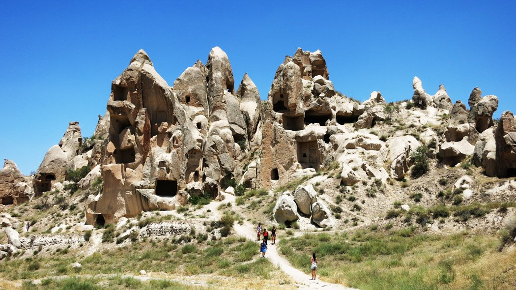 """Cappadocia with it'sits unique cone-shaped rock formations or """"fairy chimneys,"""""""