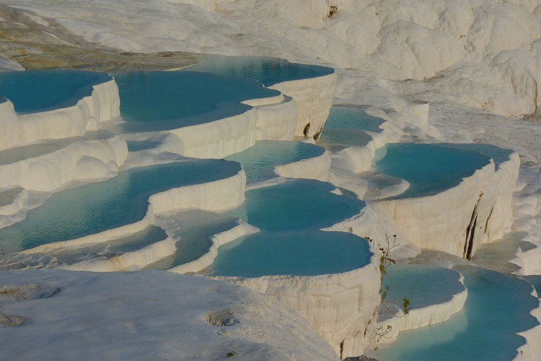 The snow white travertines of Pamukkale