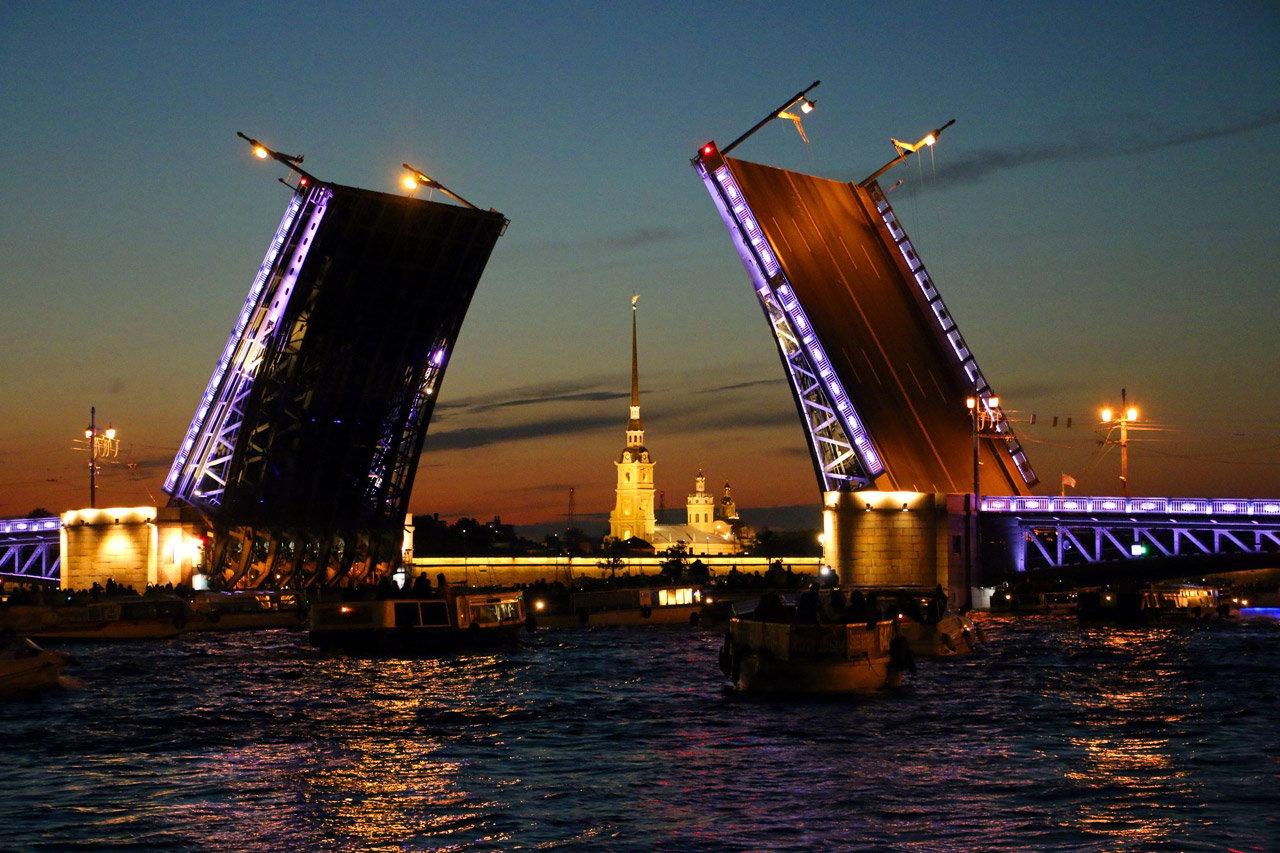 Opening of the bridges, white nights in St Petersburg.