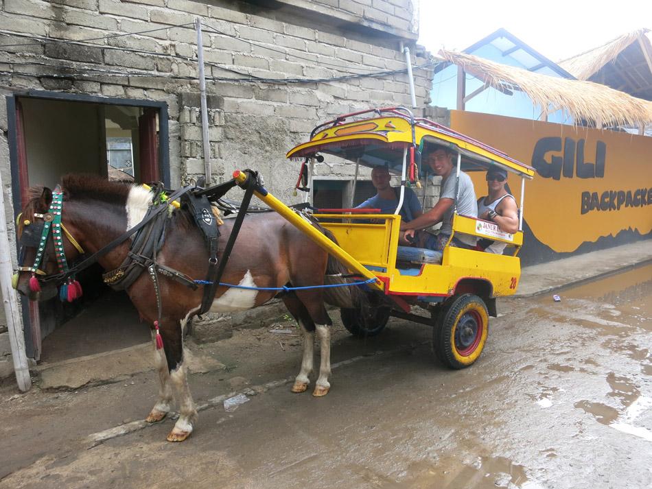 Gili Trawangan Taxi in the rain.