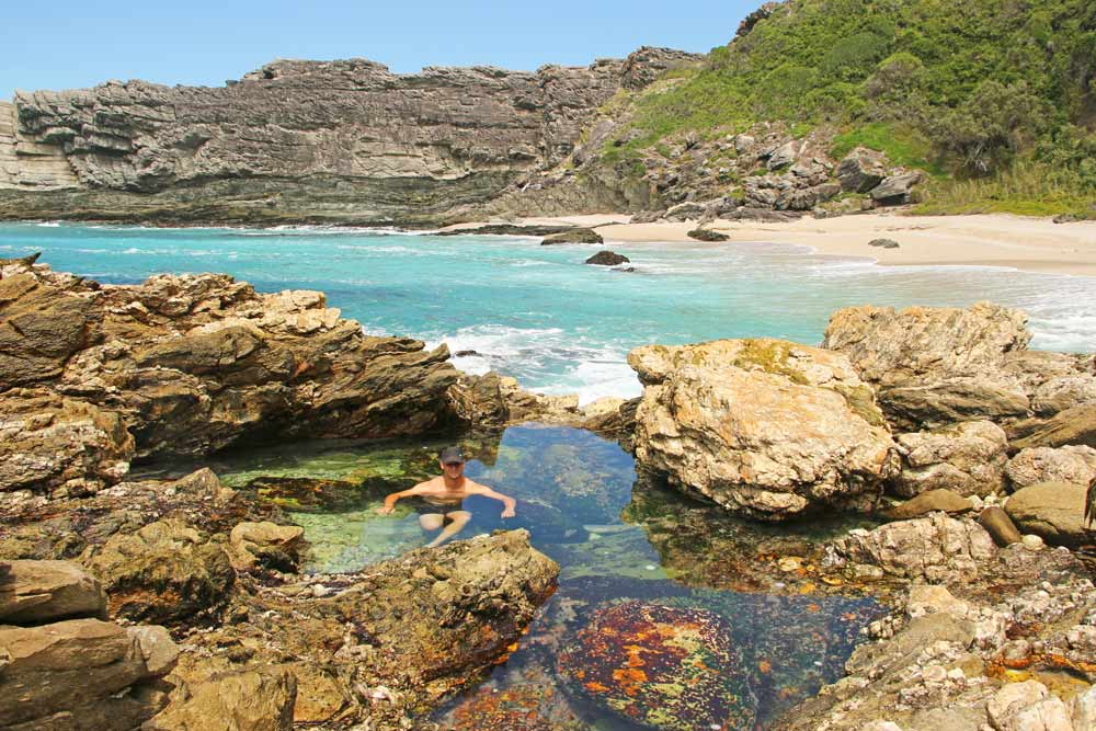 Campbell in a rock pool at Blue Bay