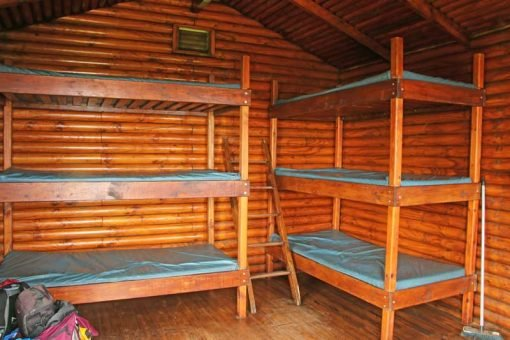 A wooden hut from the inside