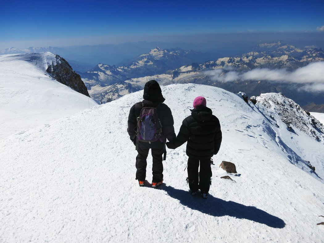 On top of the highest mountain in Europe, Mount Elbrus, Russia
