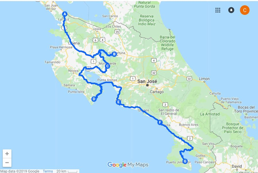 best places to visit in Costa Rica Map