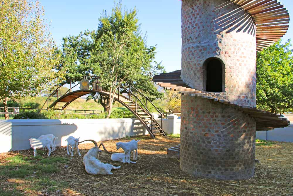 Goats and the Goat Tower at Fairview. Best things to do in Stellenbosch