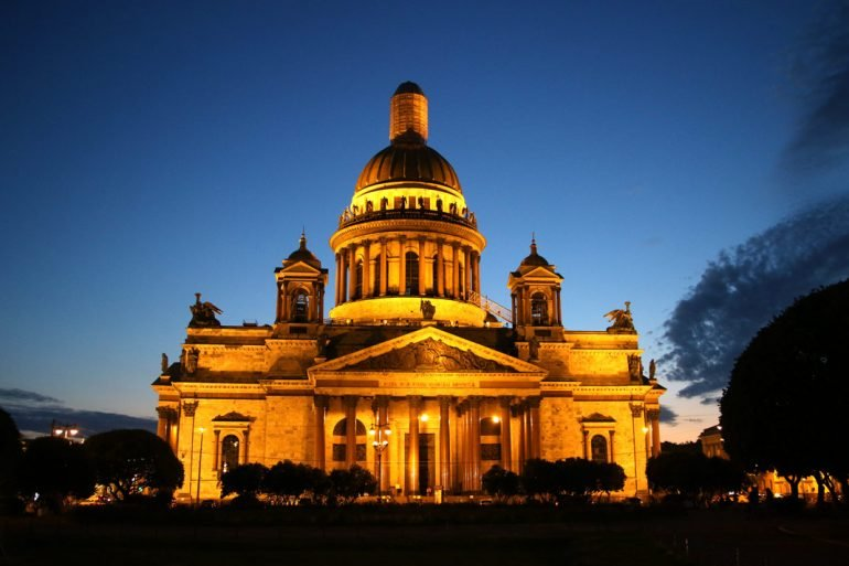 St.Isaac cathedral at night time.