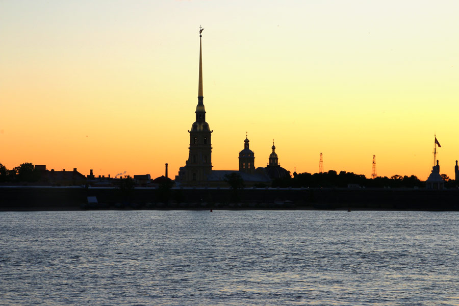 The Peter and Paul fortress at sunrise.