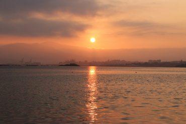 sunrise on Coastal Route of Portuguese Camino de Santiago