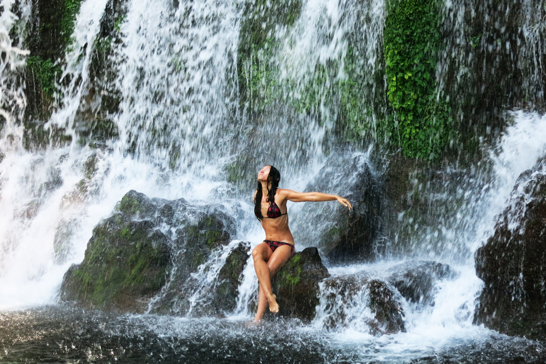 Alya swimming at the waterfalls at Los Chorros De Callera near Juayua.