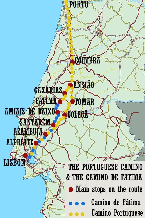 A map with two Camino routes; the blue route is for the route to Fatima, the yellow route is for the Camino de Santiago