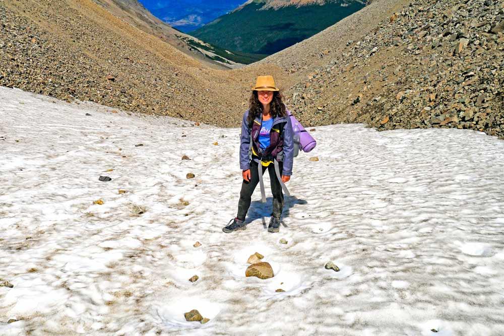 Alya at the top of El Pañon pass, hiking Cerro Castillo circuit
