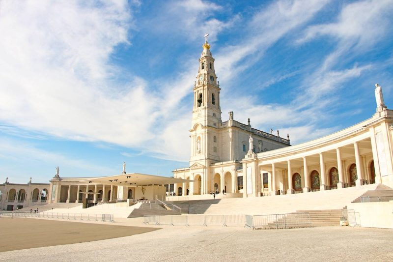 Beautiful complex of the Sanctuary of Fatima on the pilgrimage from Lisbon