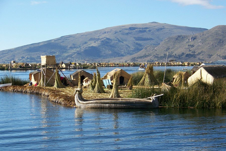 The floating islands of the Uru people on Lake Titicaca.