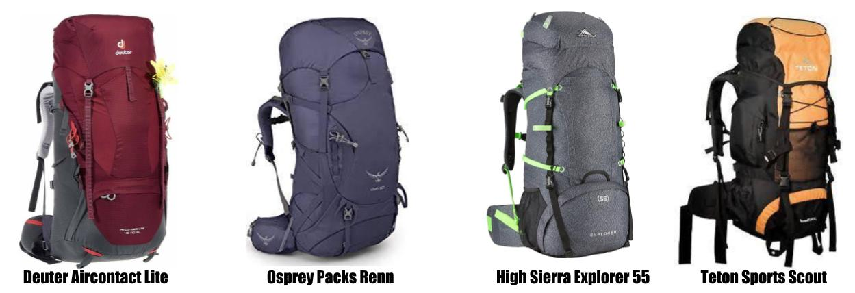 Women backpacks for hiking in Patagonia