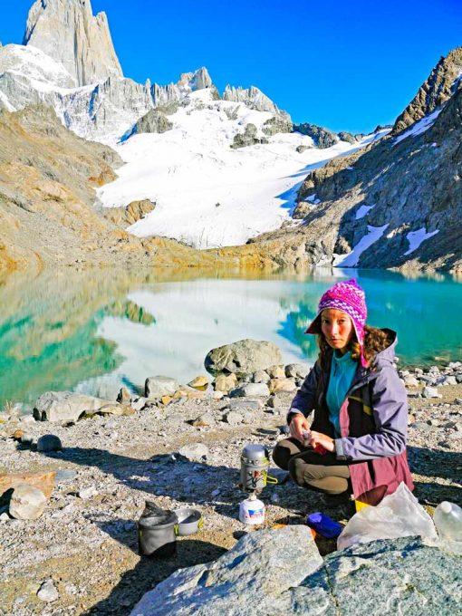 Alya boiling water at the Laguna de los Tres, El Chalten, Argentina