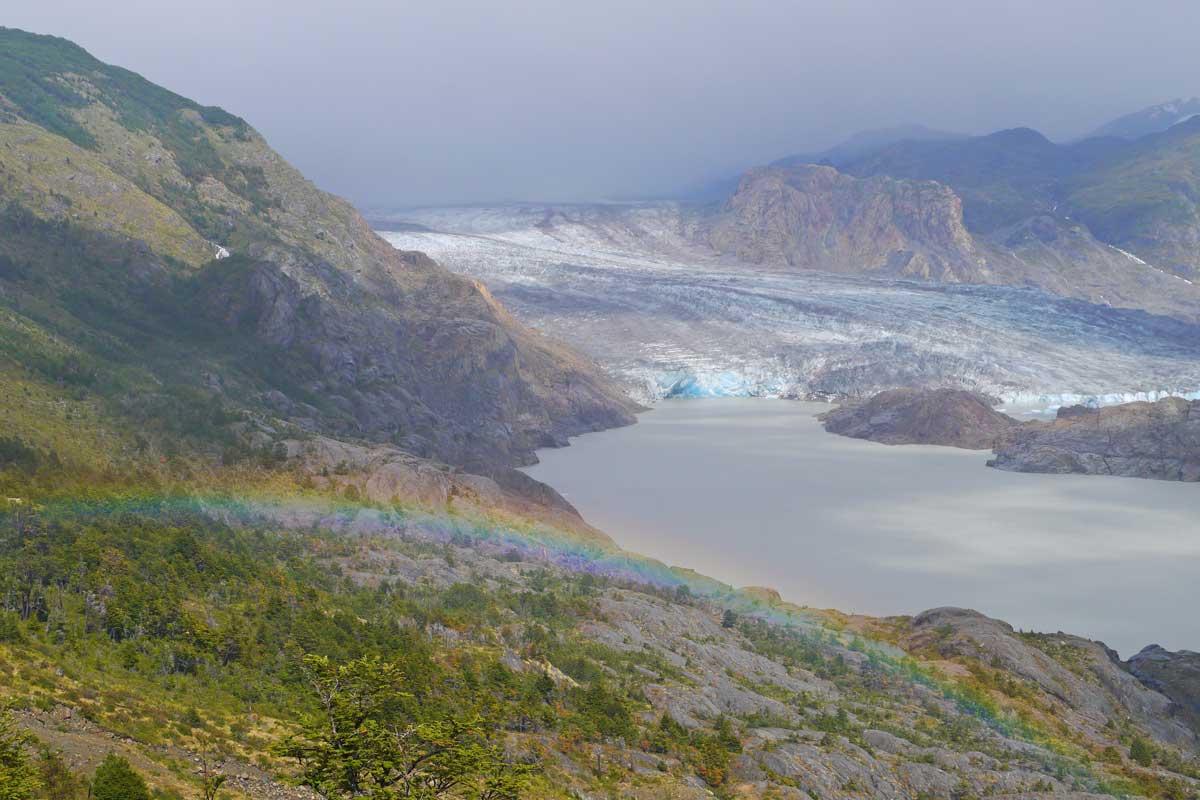 El Chico glacier with a rainbow after a heavy snowfall