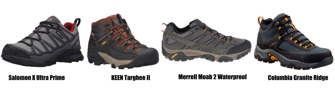 Four pairs of men hiking shoes, Patagonia packing