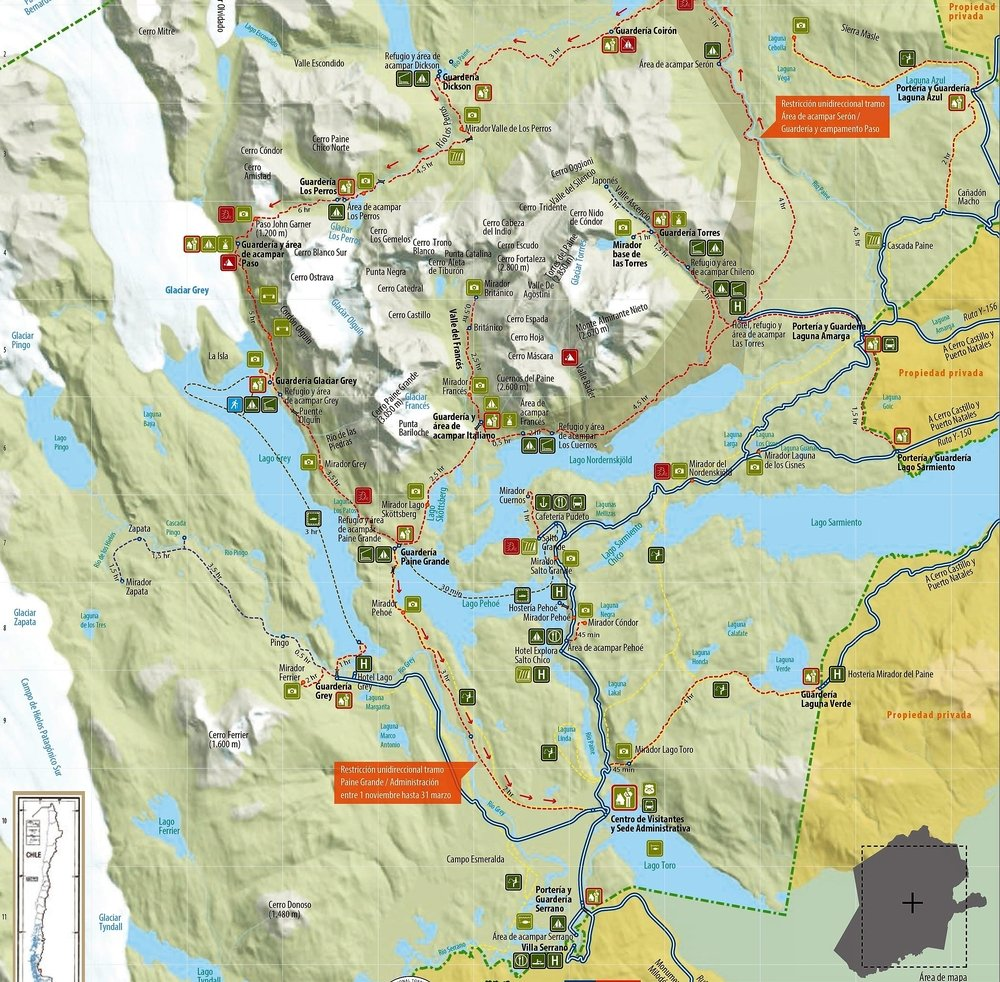 Map of Torres del Paine, Patagonia, Chile