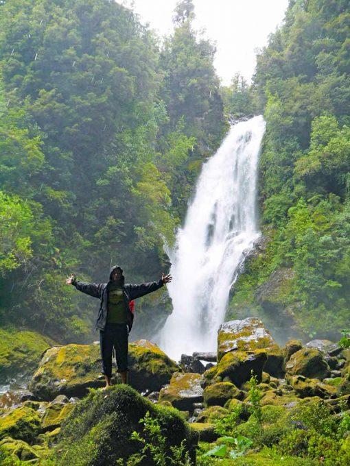 A waterfall, Cascadas Trails, hiking in Pumalin