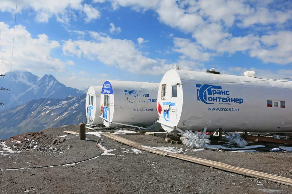 A massive metal barrels used as accommodation for climbers on Elbrus