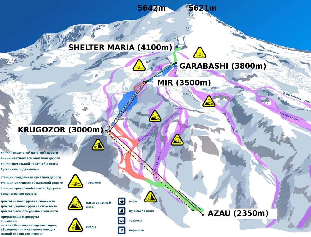 Elbrus South Route map