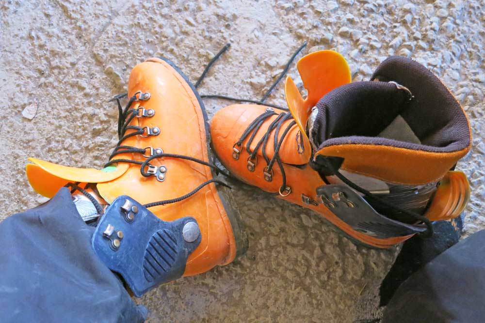 A pair of rental plastic boots for climbing Elbrus