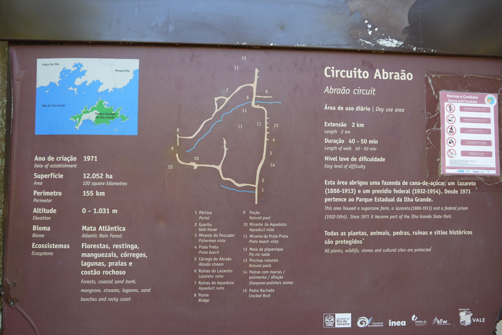 Trail markers on Ilha Grande, Brazil