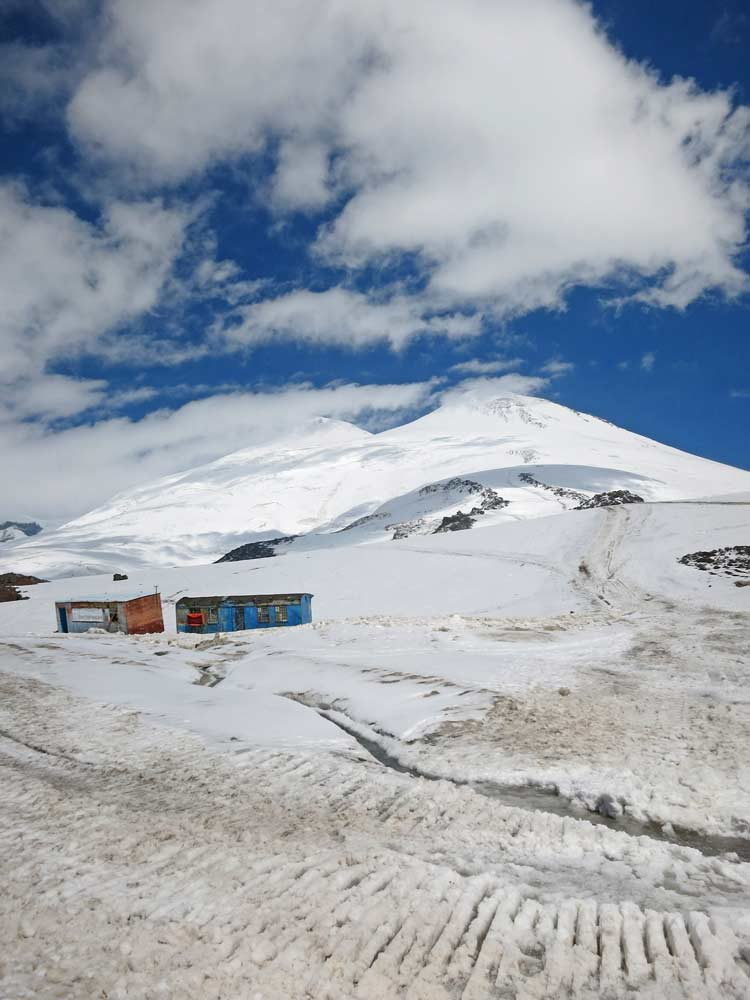 A view of two peaks of Elbrus from Garabashi station