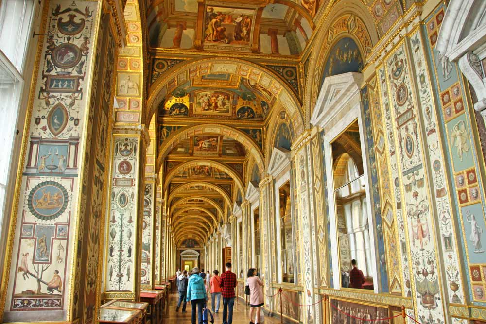 The richly decorated with ornaments and gold Raphael Loggias in Saint Petersburg