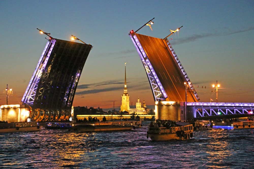 The Palace Bridge and the Peter and Paul fortress at night in Saint Petersburg