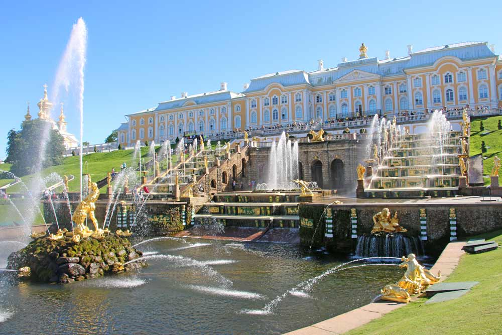 The Peterhof Palace and the Lower Park with fountains in Saint Petersburg