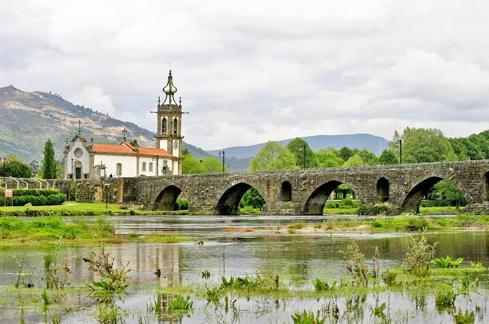Old bridge and a church, Ponte de Lima, Central Route, Portugal