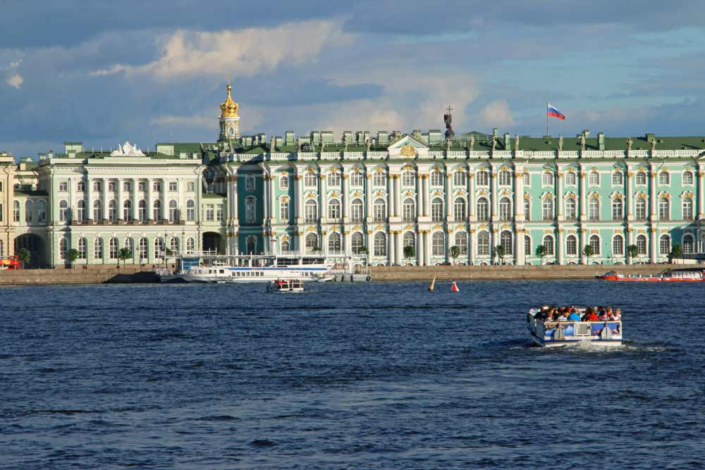 Boats on the river in St.Petersburg on a sunny day