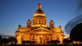 The beautiful St.Isaac's Cathedral with lights at night time