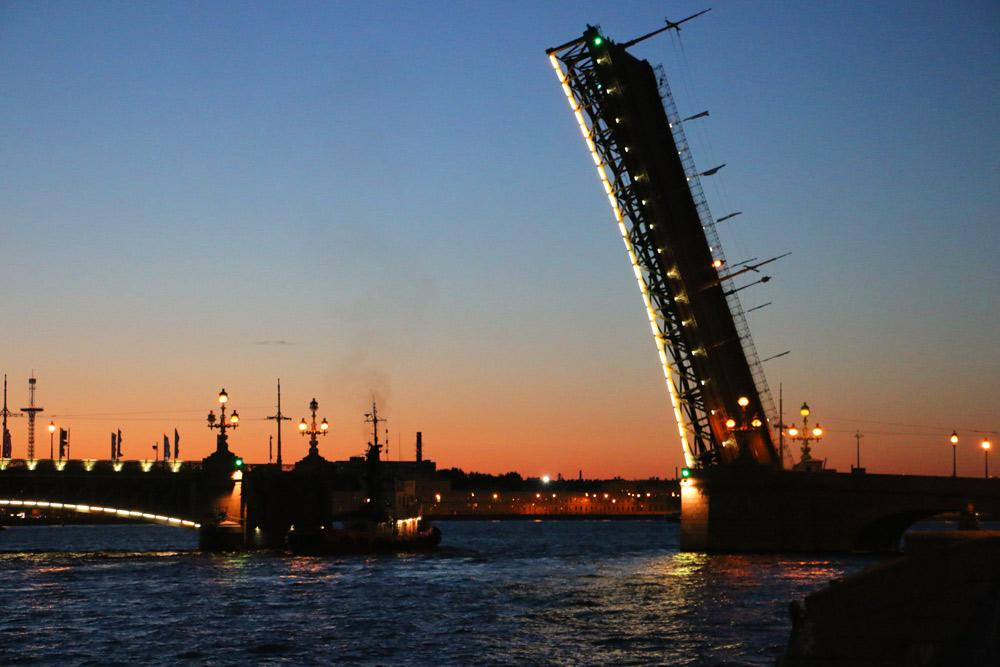 Trinity bridge opened at night