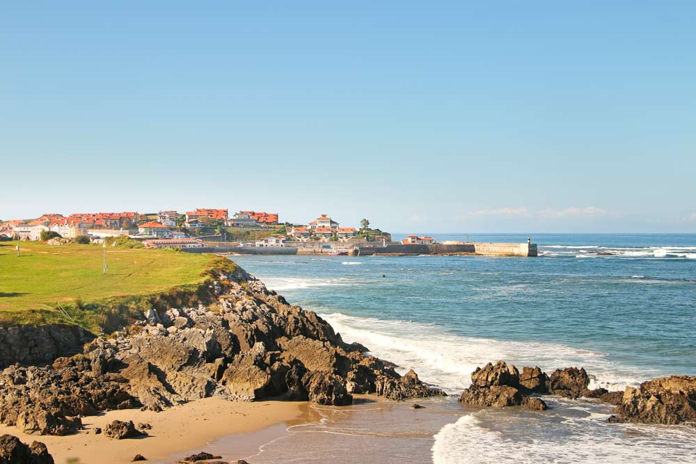 A view of the coast and the town of Comillas from the Camino del Norte