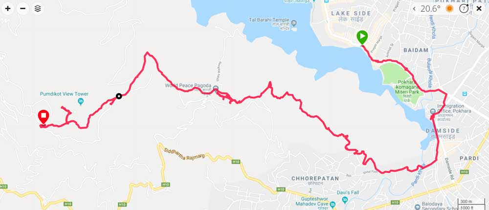 A route map of the first day of the Panchase trek