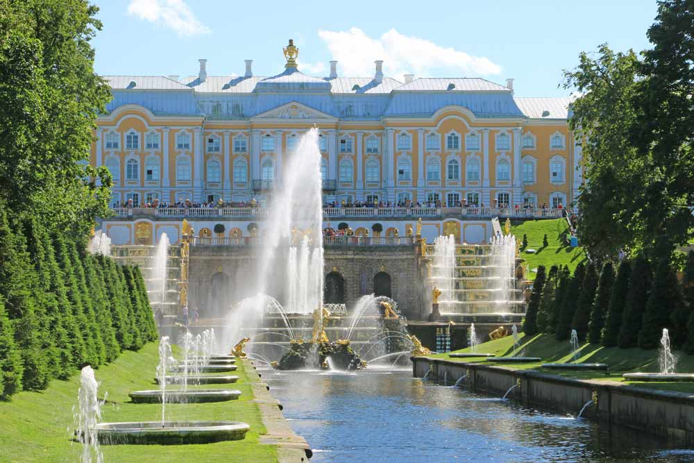 The front view of the Peterhof Palace and the Grand Cascade