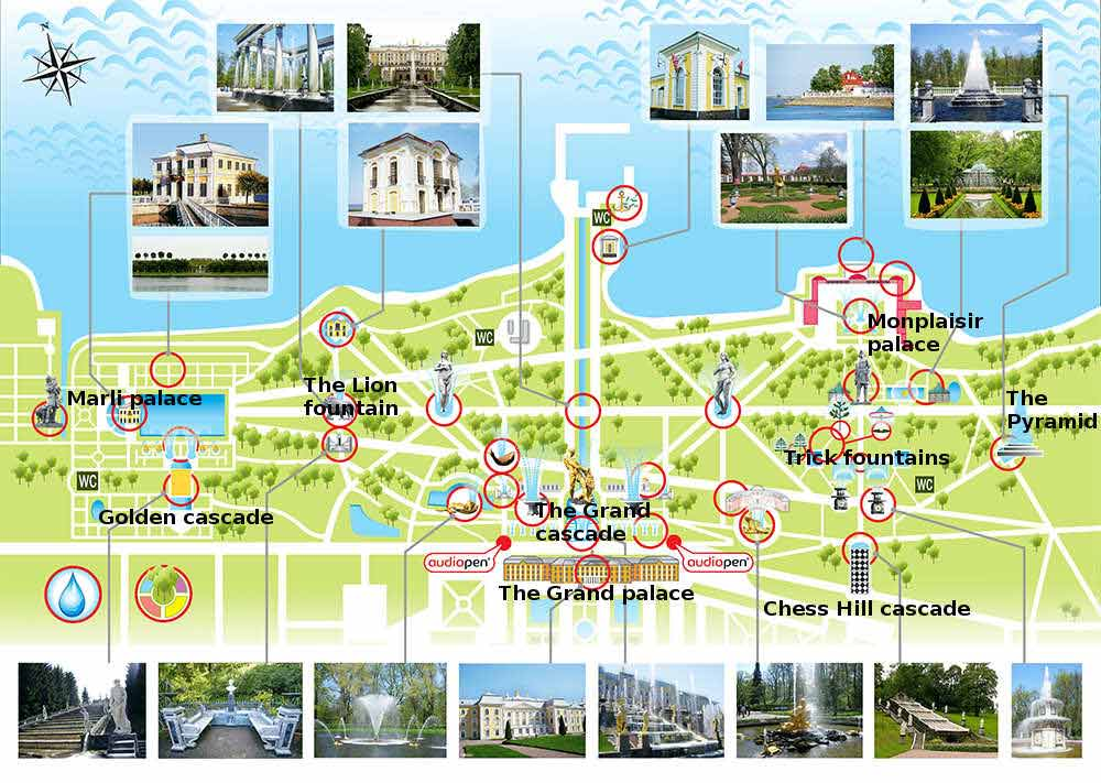 A map of the Peterhof park