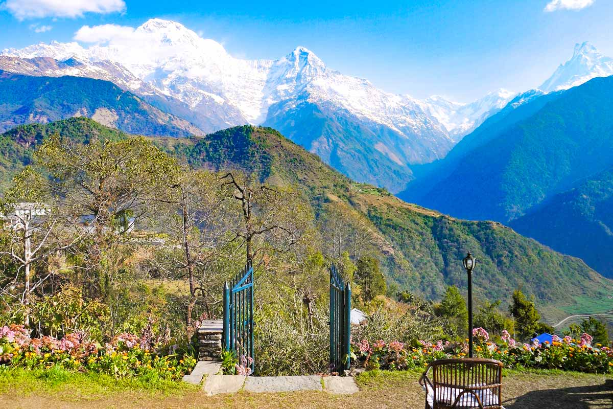 A beautiful view over the mountain on the Poon Hill trek