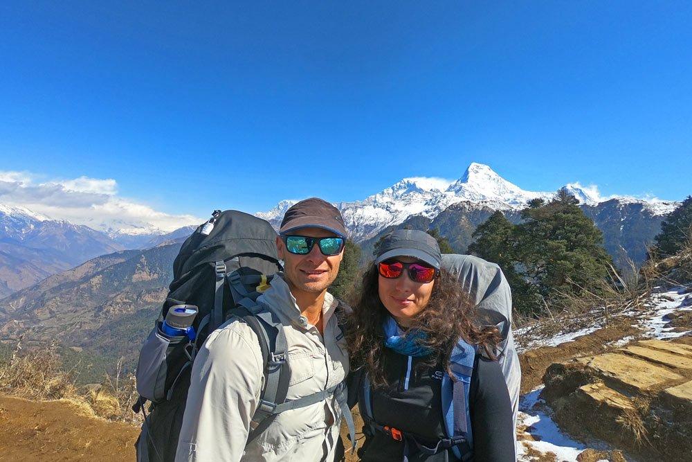 Walking over Deurali pass, Ghorepani Poon Hill trek