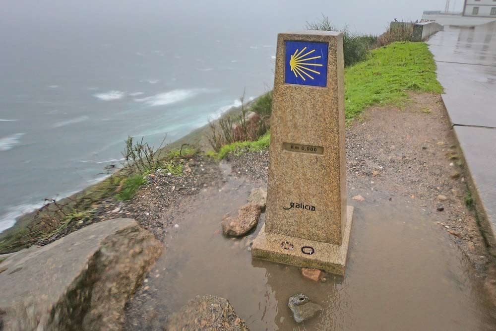 A milestone marking the end of the Camino Finisterre, 0 kilometre