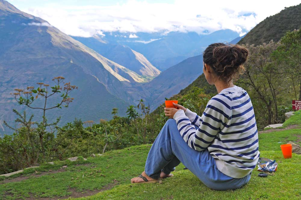 Alya enjoying the view at Choquequirao ruins campsite