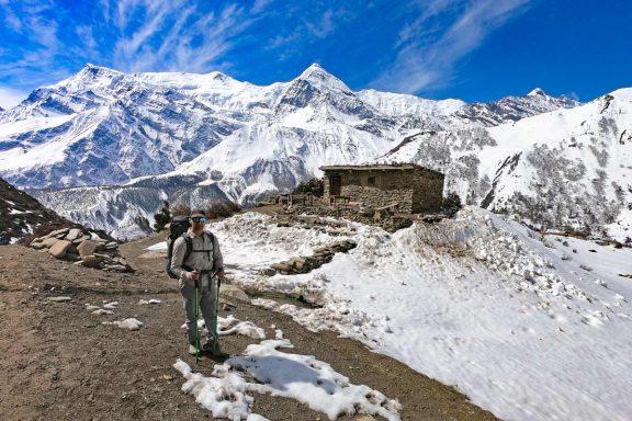Campbell at Yak Kharka on the Annapurna Circuit trek in Nepal